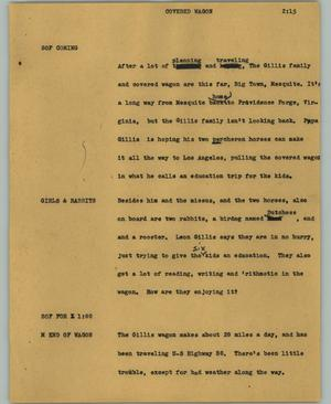 Primary view of object titled '[News Script: Covered wagon]'.