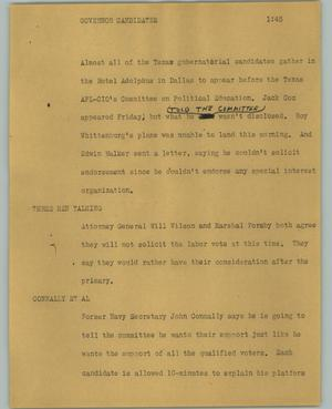 Primary view of object titled '[News Script: Governor candidates]'.