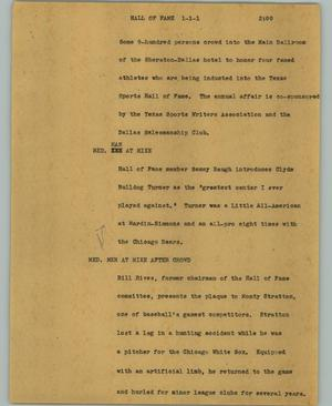 Primary view of object titled '[News Script: Hall of fame]'.