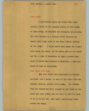 Primary view of object titled '[News Script: Grass fire]'.