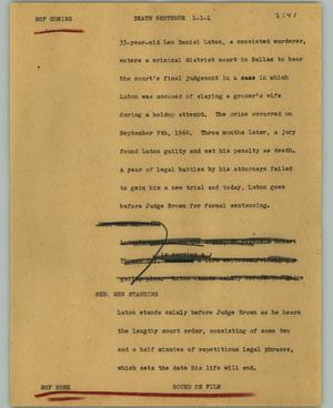 Primary view of object titled '[News Script: Death sentence]'.