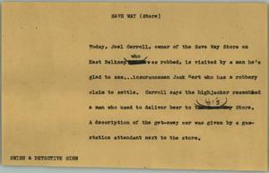 Primary view of object titled '[News Script: Save Way (Store)]'.