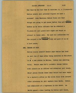 Primary view of object titled '[News Script: Jailer attacked]'.