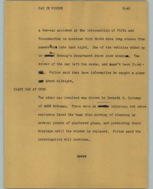 Primary view of object titled '[News Script: Car in window]'.