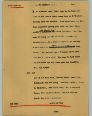Primary view of object titled '[News Script: 100th Birthday]'.