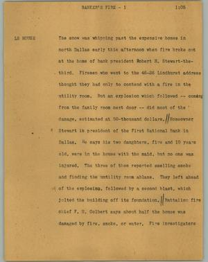 Primary view of object titled '[News Script: Banker's fire]'.