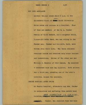 Primary view of object titled '[News Script: Wreck number 2]'.