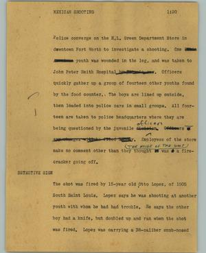 Primary view of object titled '[News Script: Mexican shooting]'.