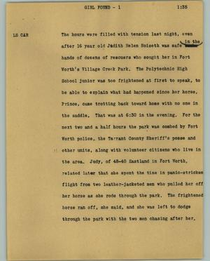 Primary view of object titled '[News Script: Girl found]'.