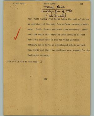 Primary view of object titled '[News Script: Fred Korth]'.
