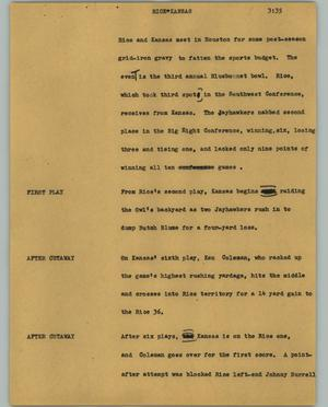 Primary view of object titled '[News Script: Rice Kansas]'.