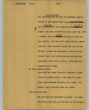 Primary view of object titled '[News Script: Burglaries]'.