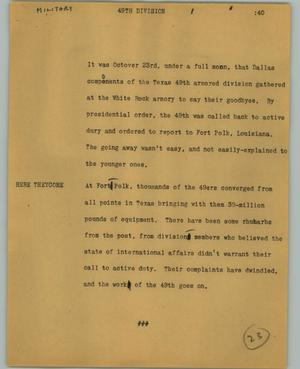 Primary view of object titled '[News Script: 49th division]'.