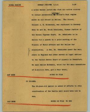 Primary view of object titled '[News Script: German jurist]'.