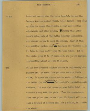 Primary view of object titled '[News Script: Teen contest]'.