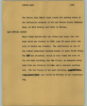 Primary view of object titled '[News Script: Denton bank]'.