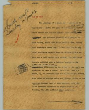 Primary view of object titled '[News Script: Wrecks]'.