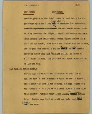 Primary view of object titled '[News Script: GOP candidate]'.