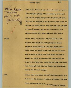 Primary view of object titled '[News Script: Stolen goods]'.