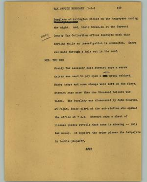 Primary view of object titled '[News Script: Tax office burglary]'.