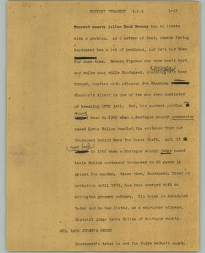 "Primary view of object titled '[News Script: Convict ""framed""]'."