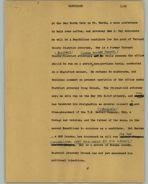 Primary view of object titled '[News Script: Candidate]'.