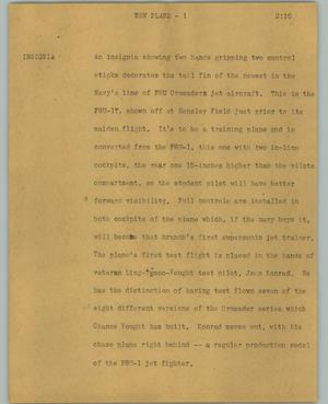 Primary view of object titled '[News Script: New plane]'.