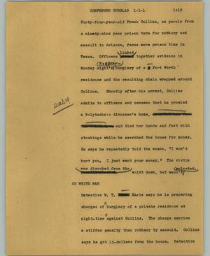 Primary view of object titled '[News Script: Confessed burglar]'.