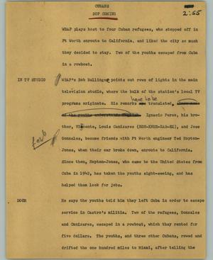 Primary view of object titled '[News Script: Cubans]'.