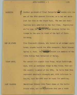 Primary view of object titled '[News Script: 49th farewell]'.