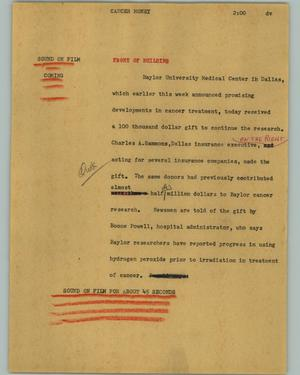 Primary view of object titled '[News Script: Cancer money]'.