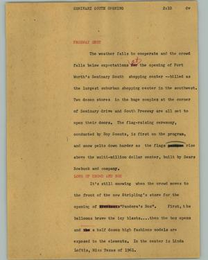 Primary view of object titled '[News Script: Seminary South opening]'.