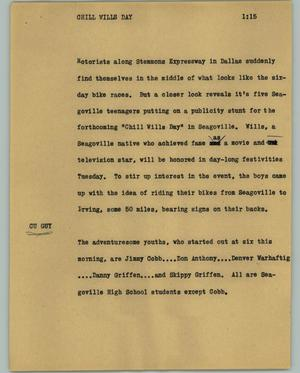 Primary view of object titled '[News Script: Chill Wills day]'.