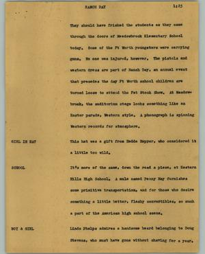 Primary view of object titled '[News Script: Ranch day]'.
