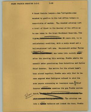 Primary view of object titled '[News Script: Grand Prairie shooting]'.