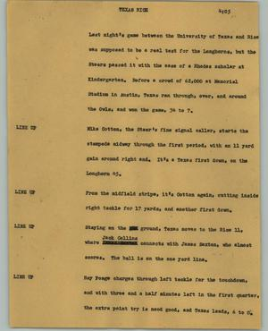 Primary view of object titled '[News Script: Texas Rice]'.