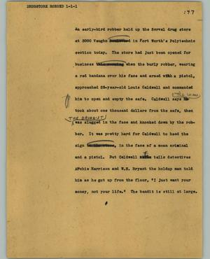 Primary view of object titled '[News Script: Drugstore robbed]'.