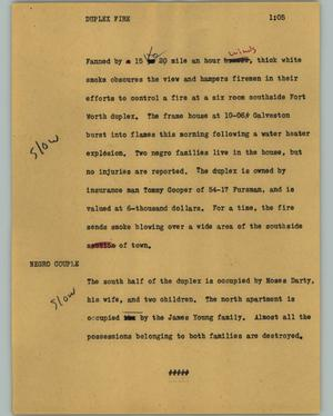 Primary view of object titled '[News Script: Duplex fire]'.