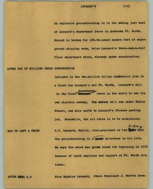 Primary view of object titled '[News Script: Leonard's]'.