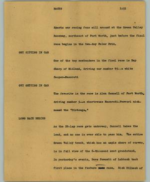 Primary view of object titled '[News Script: Races]'.