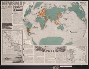 Primary view of object titled 'Newsmap. Monday, April 12, 1943 : week of April 2 to April 9, 187th week of the war, 69th week of U.S. participation'.