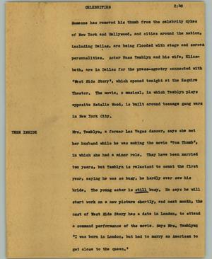 Primary view of object titled '[News Script: Celebrities]'.
