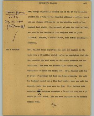 Primary view of object titled '[News Script: Housewife charged]'.