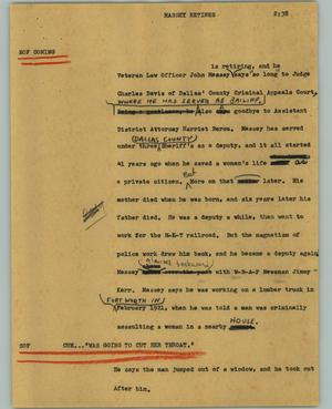 Primary view of object titled '[News Script: Massey retires]'.