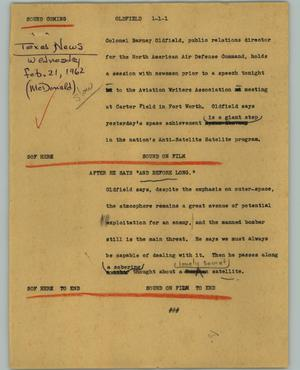 Primary view of object titled '[News Script: Outfield]'.