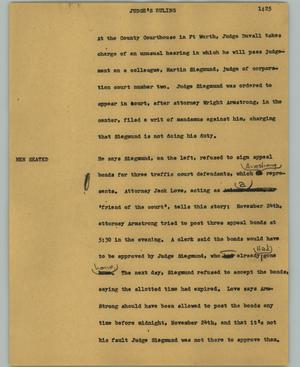 Primary view of object titled '[News Script: Judge's ruling]'.