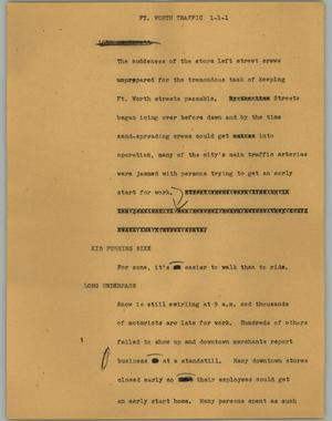 Primary view of object titled '[News Script: Ft. Worth traffic]'.