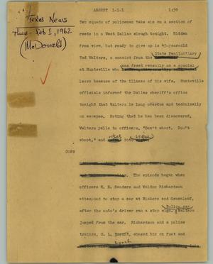 Primary view of object titled '[News Script: Arrest]'.