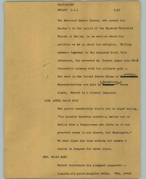 Primary view of object titled '[News Script: Candidates Bryant]'.