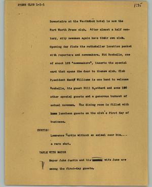 Primary view of object titled '[News Script: Press Club]'.
